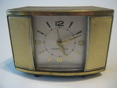 Vintage 1950s Westclox TV Cabinet Look Slide Doors Japan Alarm Clock