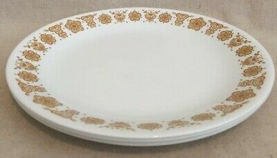 """3 Corelle Livingware by Corning Butterfly Gold Flowers 10 1/4"""" Dinner Plates USA"""