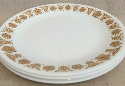 """4 Corelle Livingware by Corning Butterfly Gold Flowers 10 1/4"""" Dinner Plates USA"""
