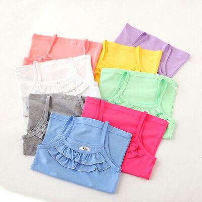 8 x Girls Sleeveless Vest Tops w/ Frill Detail in 8 Colours - NEW - 18-24 mths