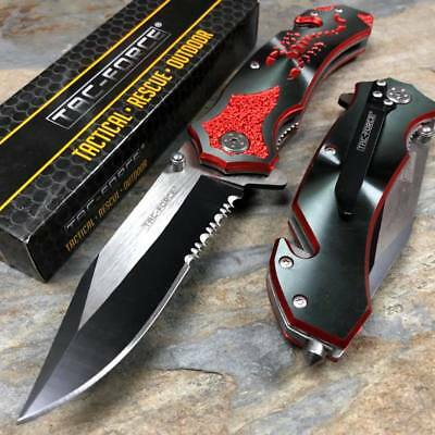 Tac Force  Open Assisted Black Aluminum Handle with red scorpion Speedster Knife