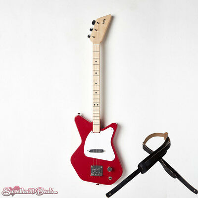 Loog Pro Electric Red 3-Stringed Solidbody Guitar - with Strap