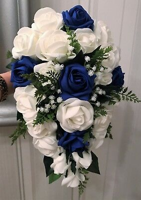 BRIDES TEARDROP BOUQUET, White/Royal Blue Roses, Greenery natural look