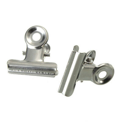 10pcs Mini Bulldog Stainless Steel Silver Metal Paper Letter Clips Tool