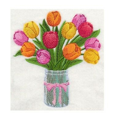Completed Machine Embroidered Tulips in Mason Jar