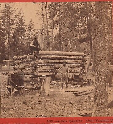 RARE Stereoview Photo - Photographer Roche Cabin Equipment Yosemite 1870 Anthony