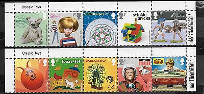1) GB Stamps  2017 Classic Toys With Name Tabs. Full Set NH Mint.