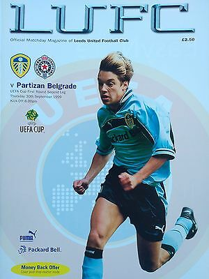 Leeds United v Partizan Belgrade Uefa Cup 30/9/1999 Mint condition