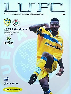 Leeds United v Lokomotiv Moscow Uefa Cup 21/10/1999 Mint condition