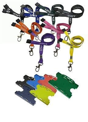 Staff Lanyard Metal Clip & Double ID Card Holder Choose Colour & Quantity
