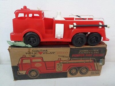 Vintage Andy Gard Poly Play Pumper Fire Engine Truck New Old Stock W/ Tag Box