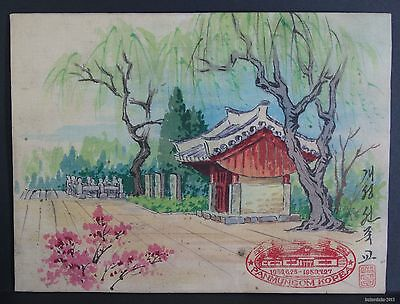 VINTAGE-DPRK/N. KOREA-KOREAN WAR-ARTWORK-LANDSCAPE-TEMPERA-1950/60s