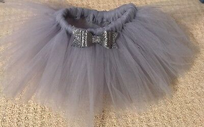 Light Grey Handmade Tutu 1-2years with matching hair bow