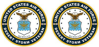 Lot Of 2 USA United States Air Force Desert Storm Veteran Decals Stickers 4.5""