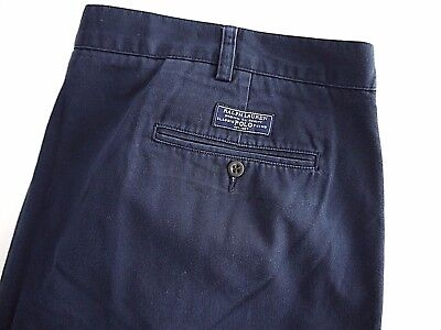 POLO RALPH LAUREN navy blue chino cotton TYLER SHORTS mens 46B pleated big tall