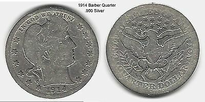 US 1914 Barber Quarter .900 Silver Coin ... Take A Look !!