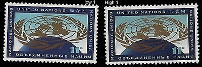 "UN Scott #107 x 2  ""Variety High and Low 1's""  Mint Never Hinged !!"