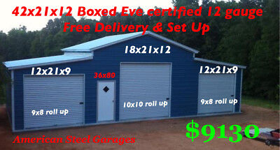 42X21X12 Certified 140/30 12 Gauge Metal Building Free Delivery And Set Up
