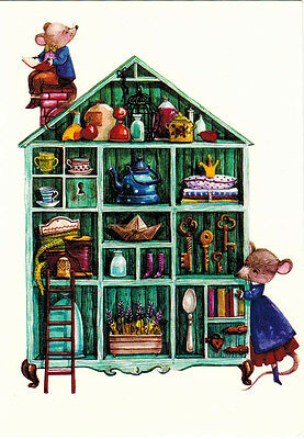 MICE WITH BOOKS AT KITCHEN SHELF PROBABLY COOKING BOOKS Modern Russian postcard