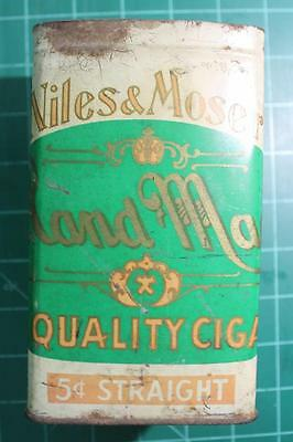 Antique Niles & Moser Cigar Tin Hand Made Quality 5 cent straight Great Shape!