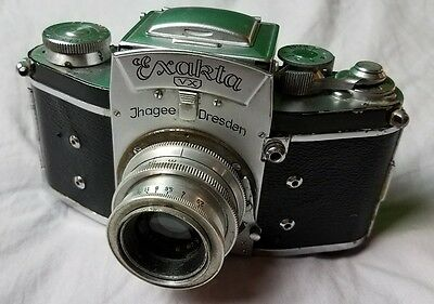 IHAGEE DRESDEN EXAKTA VX SLR Camera + Leather Case + Lens German Made Vintage