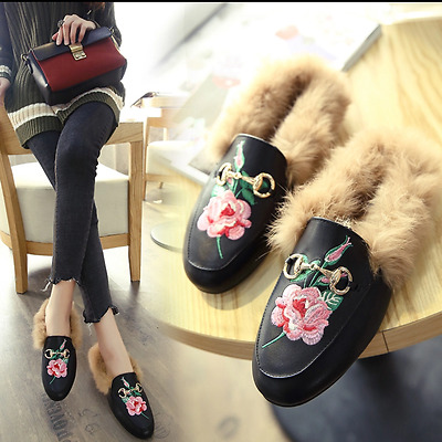 Women Princetown Horsebit Genuine Rabbit Fur slippers Mule slides shoes