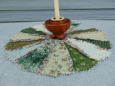 "Primitive COUNTRY GREENS Rag Quilt 19"" Table Candle Mat Centerpiece"