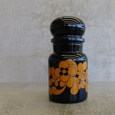 Retro Glass Storage Jar Bubble Lids Made in Belgium Apothecary Style Orange 70s