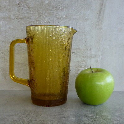 Retro Pressed Glass Jug 400mls Amber Textured Surface Retro Serving 14.1cm