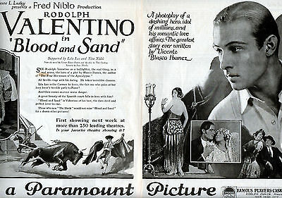 "1922 Paramount Pic's Original 2 Page ad-""Blood & Sand"" -Rodolph Valentino -v1232"