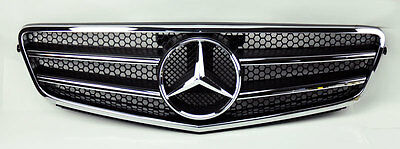 Mercedes C Class W204 08-14 AMG Style Front Black & Chrome Hood Sport Grill