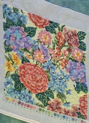 Finished Handmade Needlepoint Tapestry Floral Fabric Hydrangea Pillow Chair