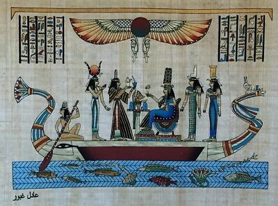#18 Hathor, Ma'at, Nefertari, Isis, Nephthy HAND PAINTED EGYPTIAN ART ON PAPYRUS