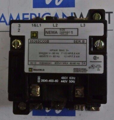 Square D 8536SCO3B *Contactor ONLY* 480v Coil - USED