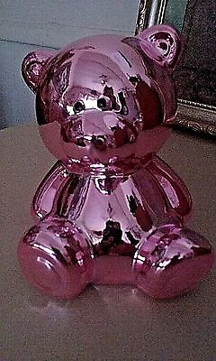 Teddy Bear Piggy Bank, Small, Pink, Shiny, 4 inches, Cute