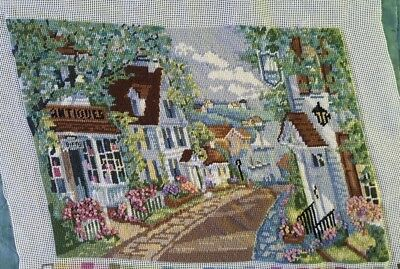 Finished Handmade Needlepoint Tapestry Fabric Victorian Lane Pillow Chair Frame