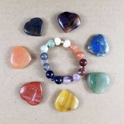 7 Chakra Set Heart Stone and Beaded Bracelet Energy Natural Meditation Heal