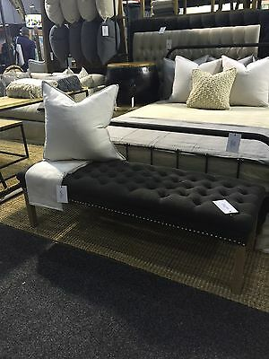 New charcoal buttoned upholstered ottoman fabric bedhead silver stud oak legs
