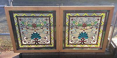 Pair Of Stained Glass Floral Windows