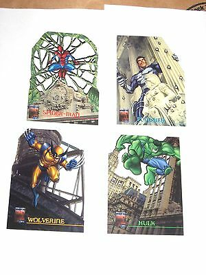 1997 Marvel QFX Premium Lazer Cut CHASE INSERT 4 CARD Set! Wolverine Spiderman