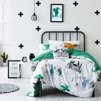 Adairs Kids COT-size Knights & Dragons Print Doona Duvet Quilt Cover