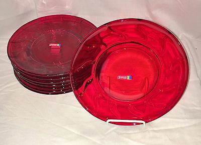 "8 Fostoria JAMESTOWN RED* 8""  PLATES*  w/STICKERS*"