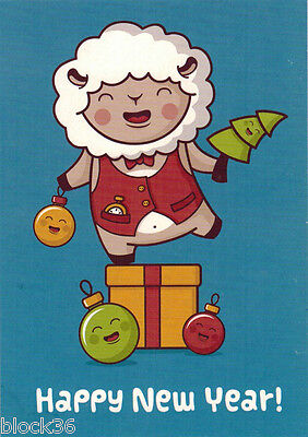 NICELY DRESSED SHEEP WISHES HAPPY NEW YEAR Modern Russian postcard