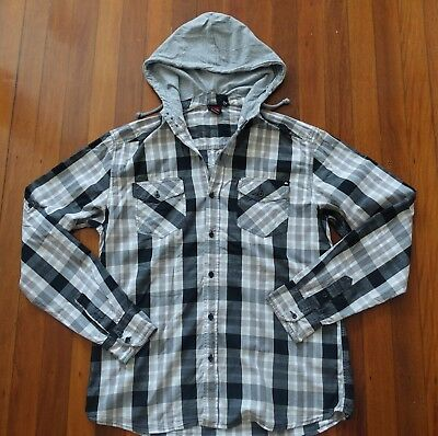 Quiksilver Mens Teen Boys Black & White Cotton Check Hoodie Hooded Shirt Sz M