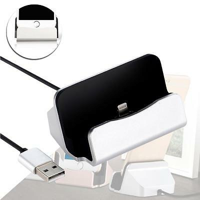 Silver Charger Docking Station Sync Charger Stand Cradle for iPhone 5/5S/6s AΥ
