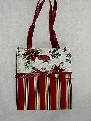 "Longaberger Christmas Gift Bag NEW Stripe Botanical Fabric Tote 9"" Handbag"