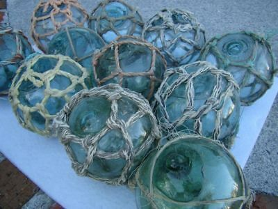 Japanese Glass Fishing Floats ~ With Netting ~ Authentic Old Vintage (10) x 3""