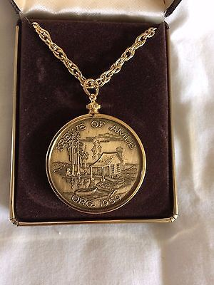 1979 Krewe of Amle Doubloon Antique Bronze with Bezel - Chain  VERY RARE !!