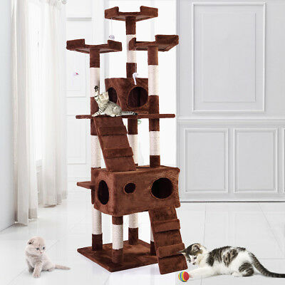 """67"""" Cat Tree Tower Condo Furniture Scratching Post Pet Kitty Play House Coffee"""