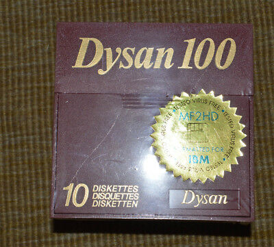 """DYSAN 3.5"""" Micro Floppy Disk 10 Pack HD 1.44MB MFD 2 IBM Formatted DS NEW SEALED"""